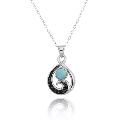 Sterling Silver Pendant with Black Spinel Wave and Round Larimar