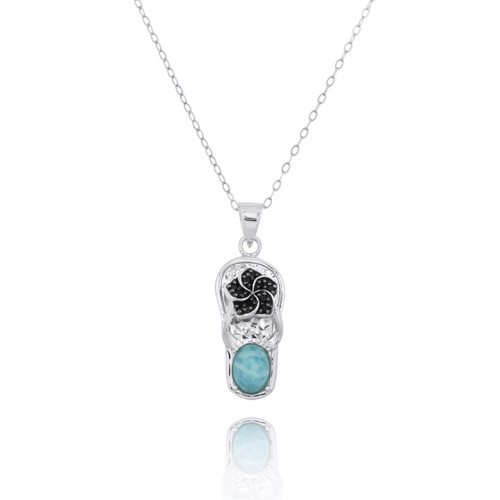 Sterling Silver Sandal Pendant with Black Spinel Hibiscus and Round Larimar