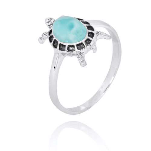 Sterling Silver Turtle Ring with Larimar