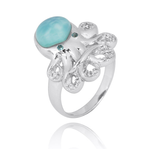 Sterling Silver Octopus Ring with Larimar, London Blue Topaz and White CZ
