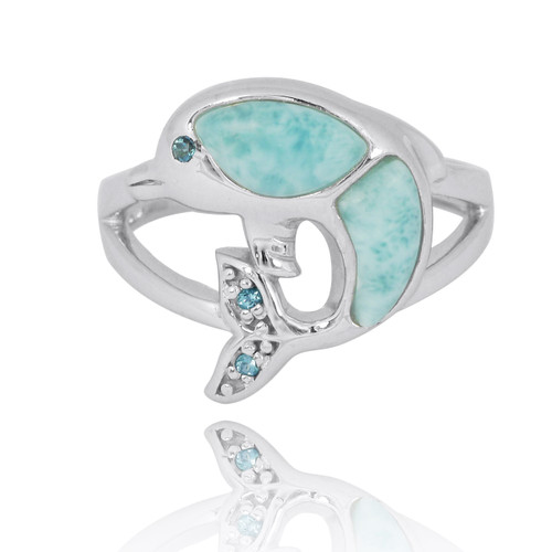 Sterling Silver Dolphin Ring with Larimar, London Blue Topaz and Swiss Blue Topaz