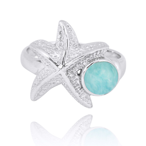 Sterling Silver Starfish Ring with Round Larimar