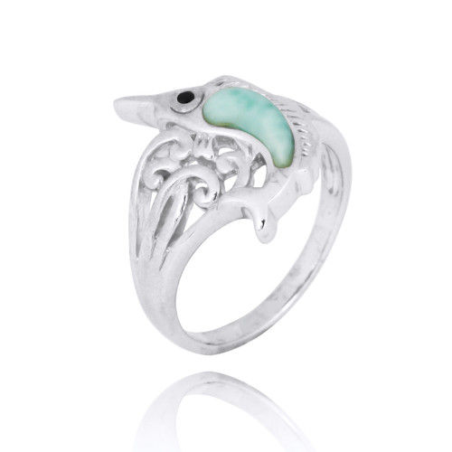Sterling Silver Swordfish Ring with Larimar and Black Spinel