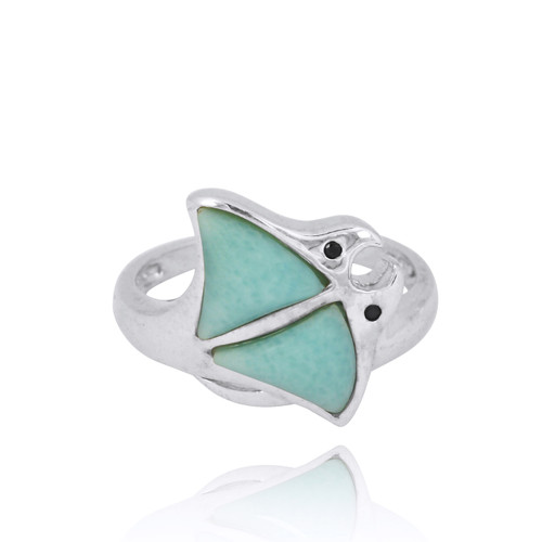 Sterling Silver Stingray Ring with Larimar and Black Spinel