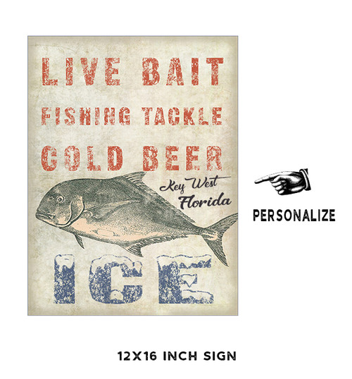 Live Bait and Cold Beer Personalized Metal Sign