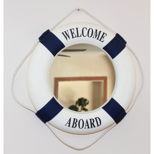 """""""Welcome Aboard"""" Life Ring Mirror - Blue"""