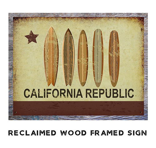 California Republic Surfboards Metal Sign