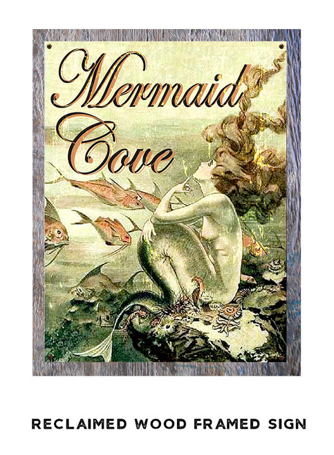 Mermaid Cove Metal Sign