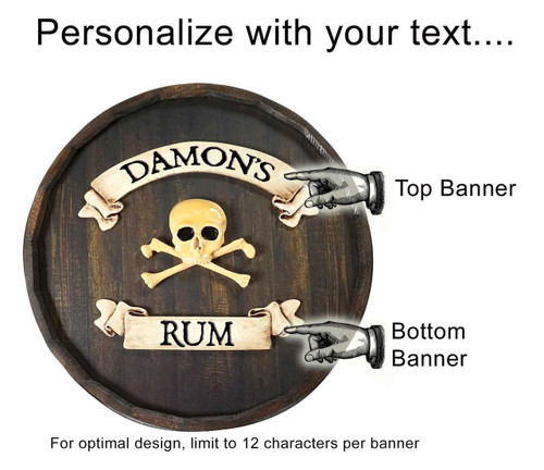 Personalized Skull Tavern Quarter Barrel Sign - 21""