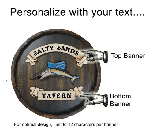 Personalized Salty Sands Tavern Quarter Barrel Sign - 21""