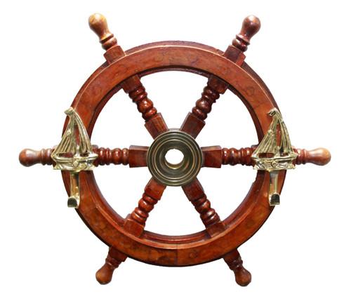 "Personalized Wooden Ship Wheel Coat Hanger -  12"""