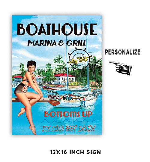 Boathouse Marina and Grill Personalized Metal Sign