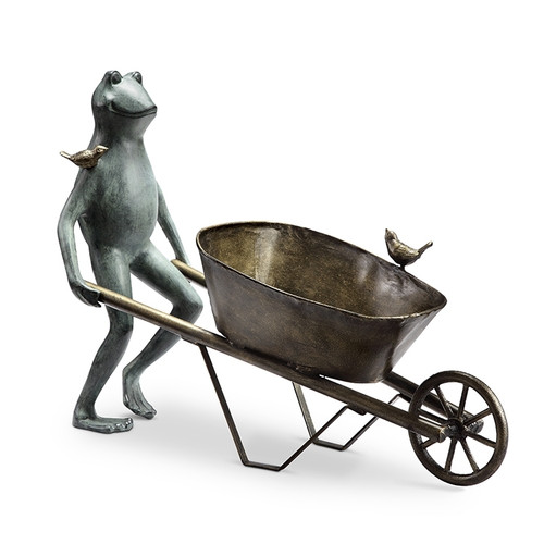 Frog and Bird Planter Holder