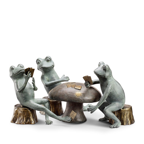 Card Cheat Frogs Garden Sculpture