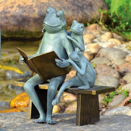 Reading Frog Family Garden Sculpture