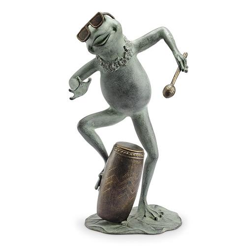 Frog Conga Drummer Garden Sculpture