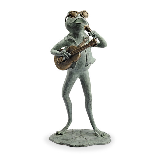 Rock Star Frog Garden Sculpture