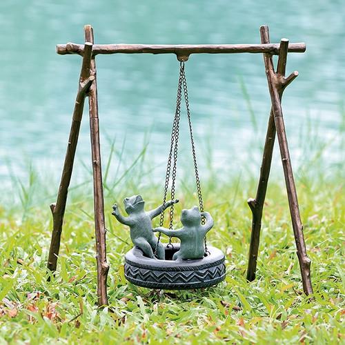 Tire Swing Frogs Garden Sculpture