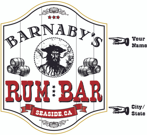 Pirate Rum Bar Sign - Personalized