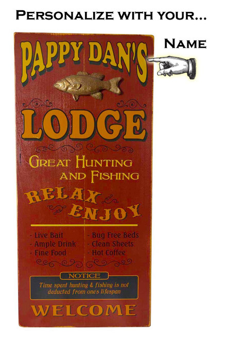 Lodge Plank Sign with Relief - Personalized