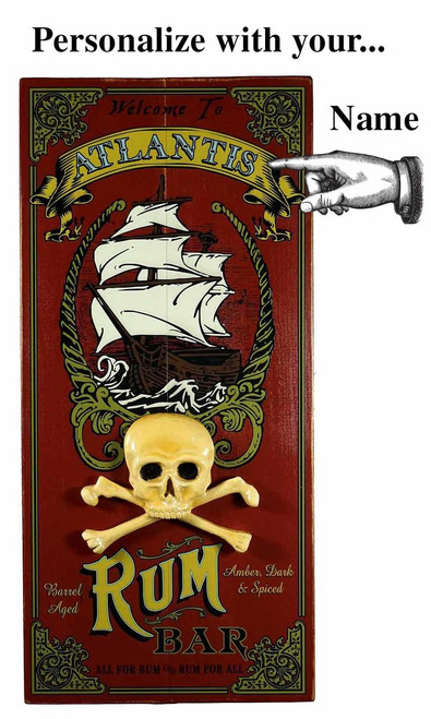 Rum Bar Plank Sign with Relief  - Personalized