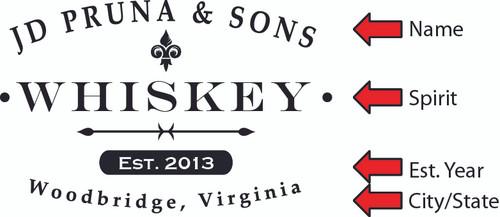 Whiskey Label 1 - Quarter Barrel Sign - Personalized