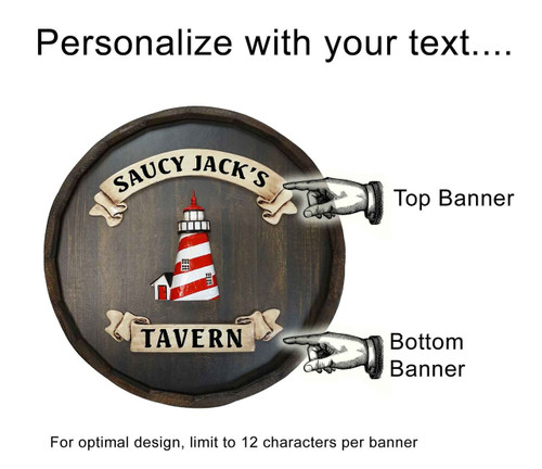 Lighthouse  Quarter Barrel Sign - Personalized