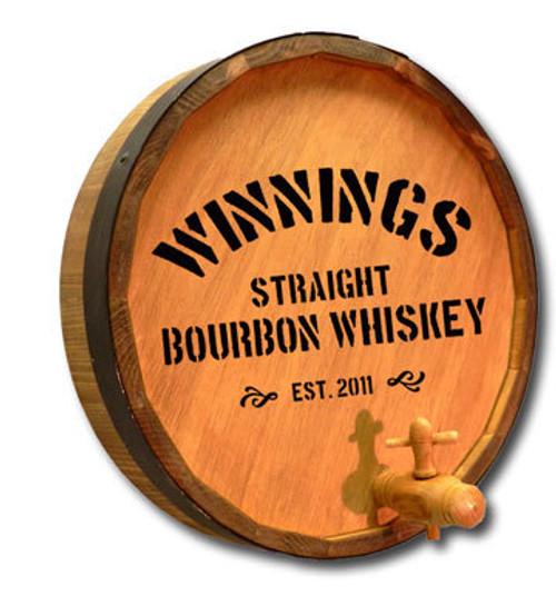 Distillery 2 - Quarter Barrel Sign with Spigot Sign - Personalized