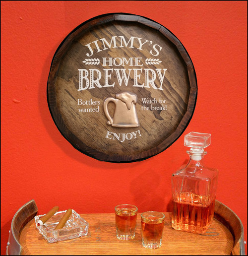 Home Brewery Quarter Barrel Sign with Relief- Personalized
