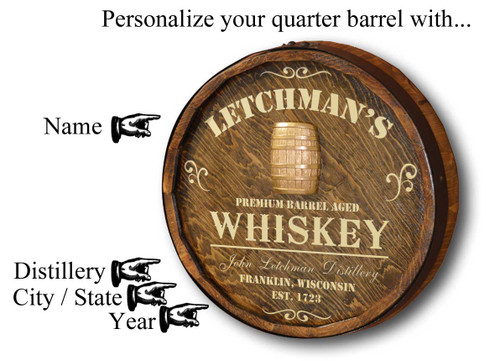 Distillery Quarter Barrel Sign with Relief- Personalized