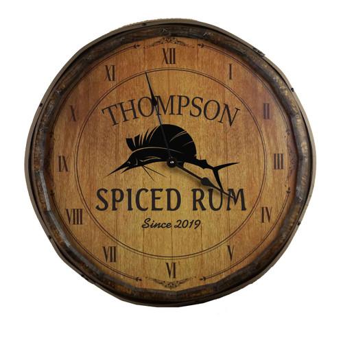 Quarter Barrel  Clock - Sailfish - Personalized