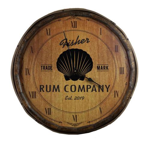 Quarter Barrel  Clock - Shell - Personalized