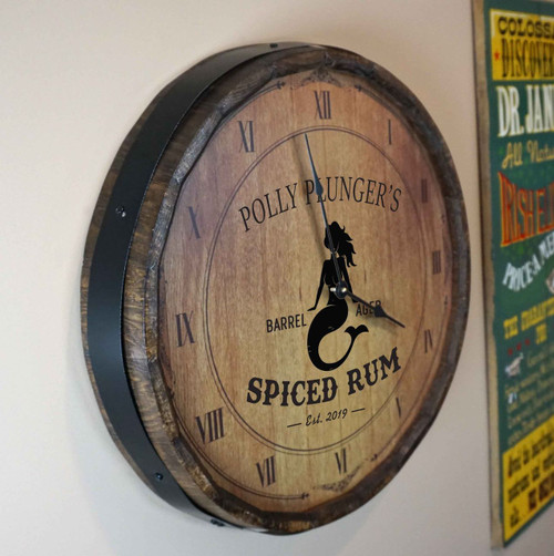 Quarter Barrel  Clock - Mermaid - Personalized