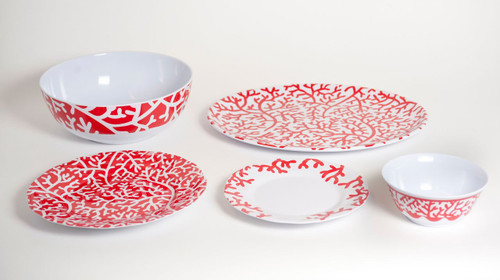 Red Coral Melamine Dinnerware -  12pc Set for 4
