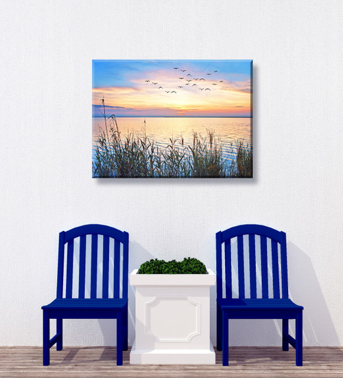 Lake Sunset Outdoor Canvas Art