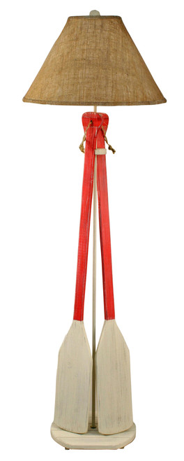 Cottage Classic Red 2 Paddle with Rope Floor Lamp