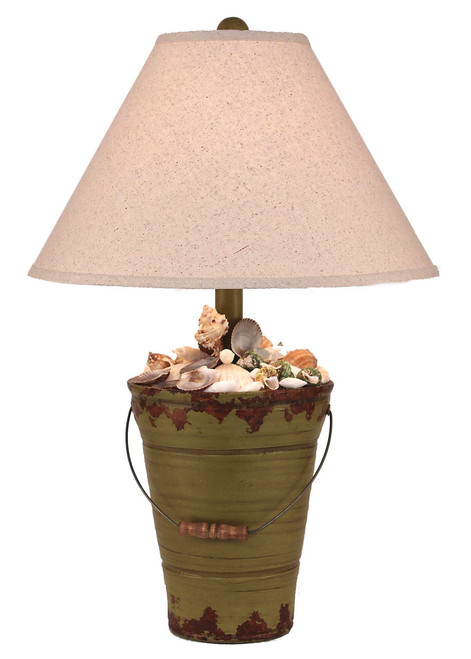 Aged Lime Bucket of Shells Table Lamp