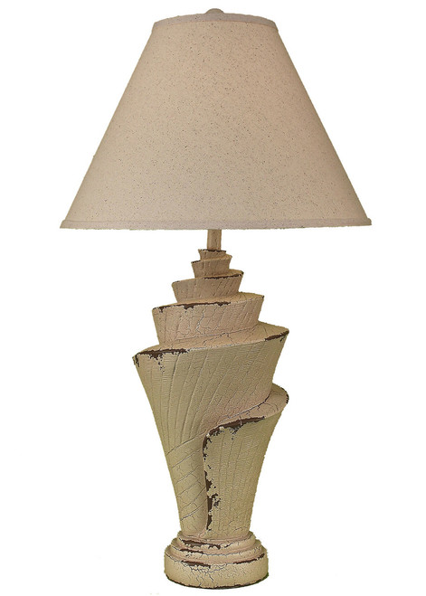 Crackle Cottage Conch Shell Table Lamp