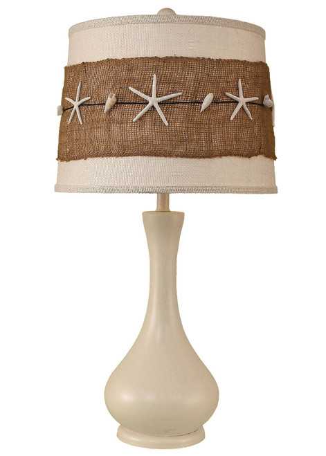 Solid Cottage Smooth Genie Bottle Table Lamp with Burlap and Starfish Shade