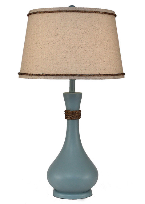 Solid Atlantic Grey Smooth Genie Bottle Table Lamp with Rope Accent