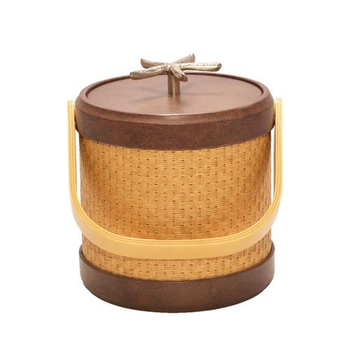 Samoa Wheat Wicker Ice Bucket with Chunky Shell Knob - 3 Qt