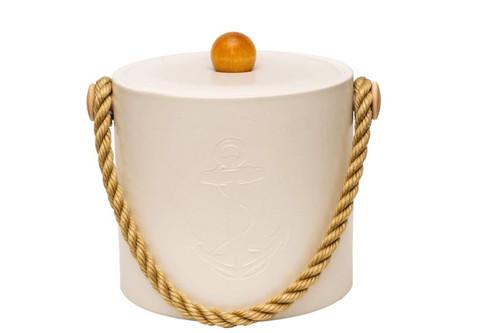 White Castilian Debossed Anchor Ice Bucket - 3qt