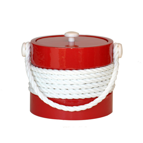 Red Ice Bucket with White Center Rope- 3 Qt