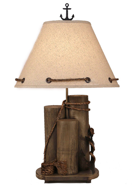 Antique Grey Dock Pilings with Tarnished Anchor Table Lamp