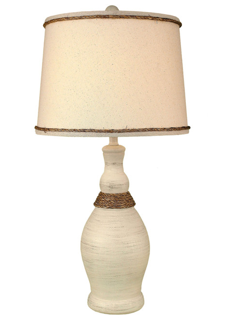 Cottage Slender Neck Table Lamp with Weathered Rope Accent