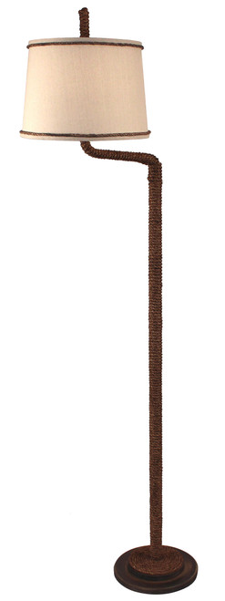 Dark Sandalwood Manila Rope Swing Arm Floor Lamp
