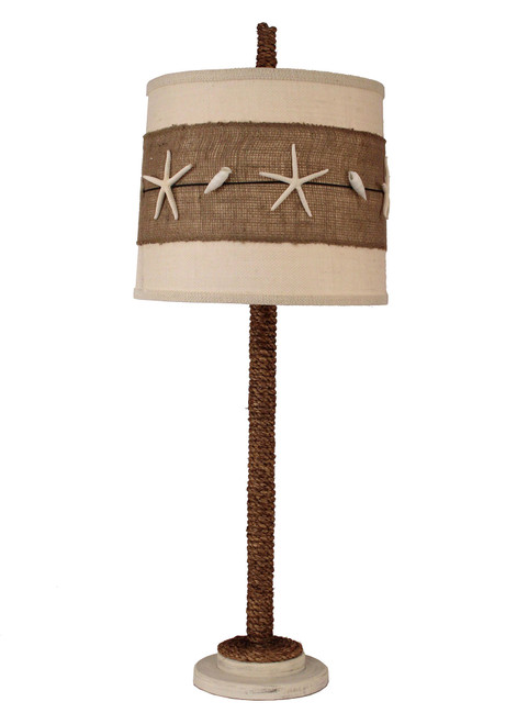 Rope Table Lamp with Burlap and Star Fish Shade