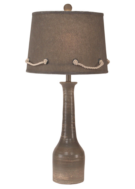 Slender Neck Pottery Table Lamp with White Rope Shade