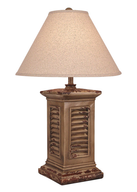 Aged Square Shutter Table Lamp