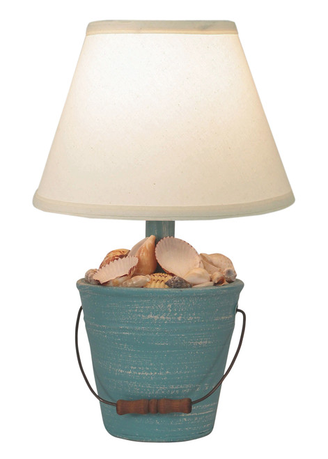 Weathered Turquoise Mini Bucket of Shells Accent Lamp